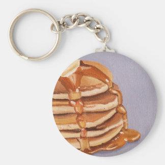 Pintura del desayuno de Shortstack de las crepes Llavero Redondo Tipo Pin