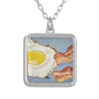Pintura del desayuno de tocino y del huevo colgante cuadrado