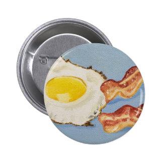 Pintura del desayuno de tocino y del huevo pin redondo de 2 pulgadas
