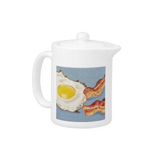 Pintura del desayuno de tocino y del huevo