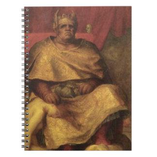 Pintura del diablo de Mammon del vintage Libreta Espiral