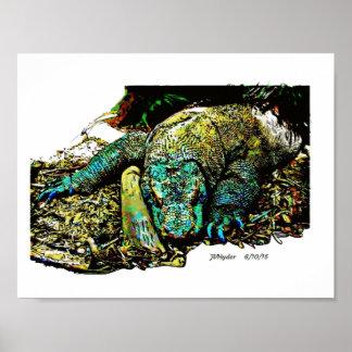 Pintura del dragón de Komodo Póster