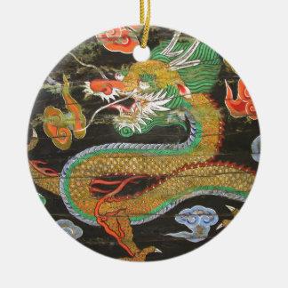 Pintura del dragón en el techo coreano de adorno navideño redondo de cerámica