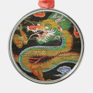 Pintura del dragón en el techo coreano de adorno navideño redondo de metal