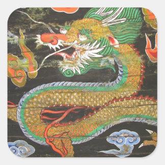Pintura del dragón en el techo coreano de pegatina cuadrada