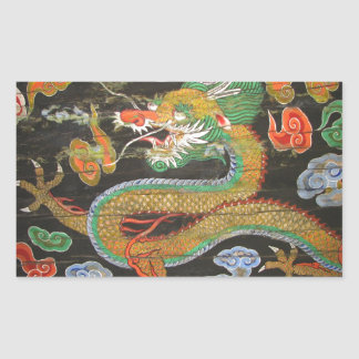 Pintura del dragón en el techo coreano de pegatina rectangular