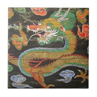 Pintura del dragón en el techo coreano de Sungnyem Azulejo Cuadrado Pequeño