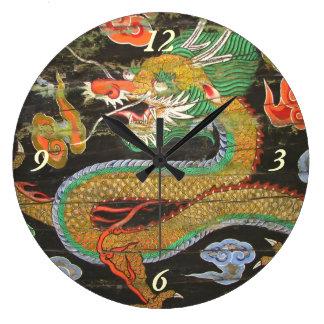 Pintura del dragón en el techo coreano de Sungnyem Reloj Redondo Grande