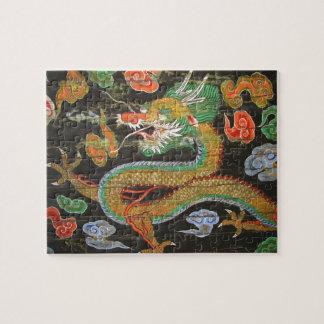 Pintura del dragón en el techo coreano de Sungnyem Rompecabeza Con Fotos