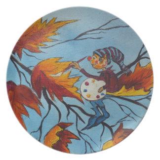Pintura del duendecillo de la pintura de Ana Hayes Platos