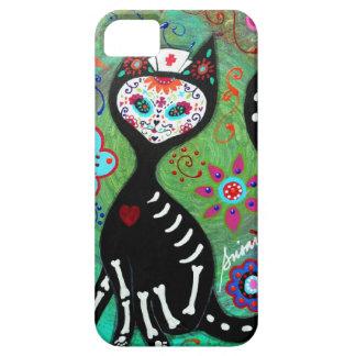 PINTURA DEL EL GATO CAT DIA DE LOS MUERTOS NURSE iPhone 5 PROTECTORES