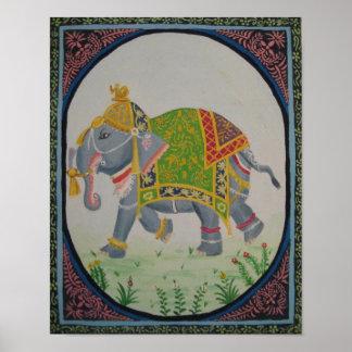 pintura del elefante indio póster