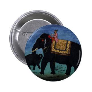 Pintura del elefante pin redondo de 2 pulgadas