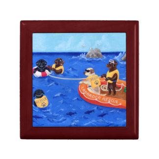 Pintura del equipo de rescate de Labrador Joyero Cuadrado Pequeño