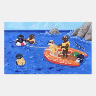 Pintura del equipo de rescate de Labrador Etiquetas