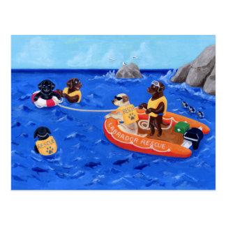 Pintura del equipo de rescate de Labrador Tarjeta Postal