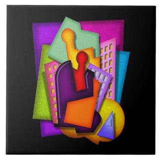 pintura del extracto de la metrópoli del art déco azulejo cuadrado grande