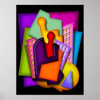 pintura del extracto del art déco de la metrópoli póster