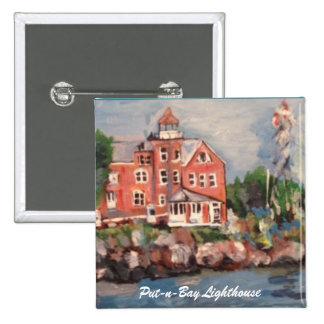 Pintura del faro de la Poner-n-Bahía en un botón Pin Cuadrado