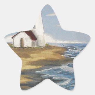 Pintura del faro pegatina en forma de estrella