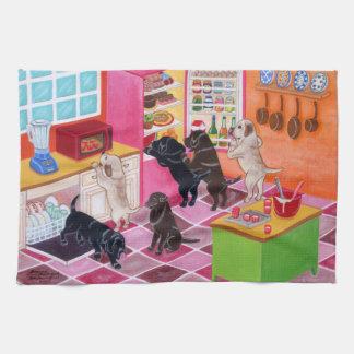 Pintura del fiesta de la cocina de Labrador Toallas