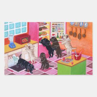 Pintura del fiesta de la cocina de Labrador Rectangular Pegatina