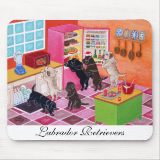 Pintura del fiesta de la cocina de Labrador Alfombrilla De Ratones