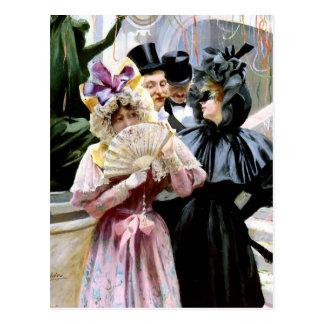 Pintura del fiesta de la máscara de los hombres de tarjeta postal