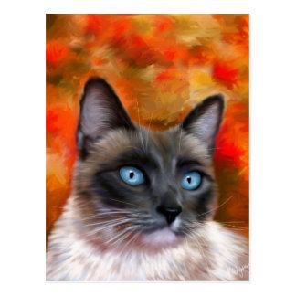 Pintura del fuego y del hielo del arte del gato si postal