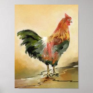 Pintura del gallo posters