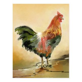 Pintura del gallo postales