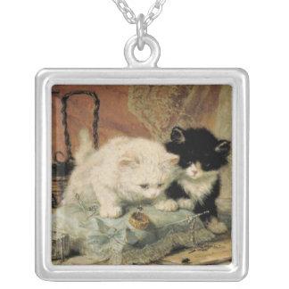 Pintura del gatito del vintage colgante cuadrado