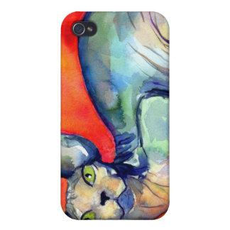 Pintura del gato #6 del sphynx de la esfinge iPhone 4/4S funda