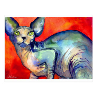 Pintura del gato #6 del sphynx de la esfinge postales