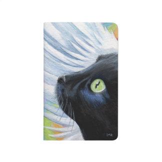 Pintura del gato del ángel del negro del final del cuaderno