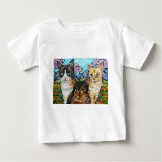 Pintura del gato del arte pop playeras