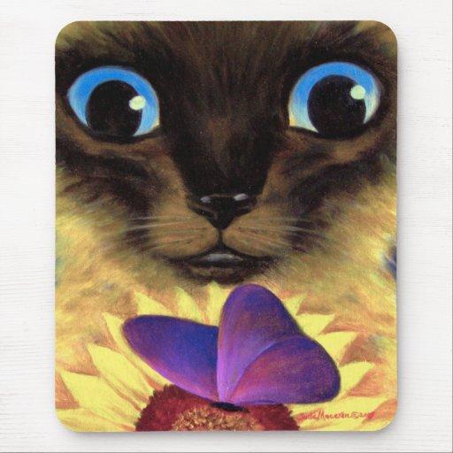 Pintura del gato siamés con la mariposa - multi mousepads