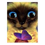 Pintura del gato siamés con la mariposa - multi tarjetas postales