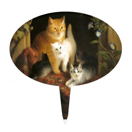 Pintura del gato y de los gatitos de la madre palillos de tarta