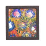 Pintura del girasol del collage de las técnicas mi cajas de recuerdo de calidad