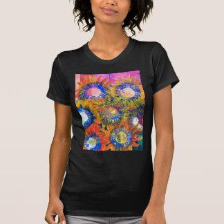 Pintura del girasol del collage de las técnicas mi camisetas