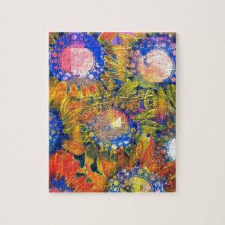 Pintura del girasol del collage de las técnicas mi puzzle