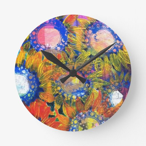 Pintura del girasol del collage de las técnicas mi relojes