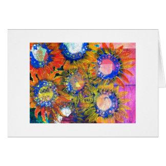 Pintura del girasol del collage de las técnicas mi tarjeta de felicitación