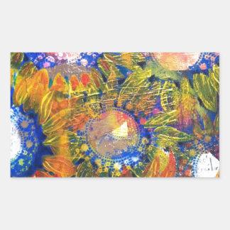 Pintura del girasol del collage de las técnicas pegatina rectangular