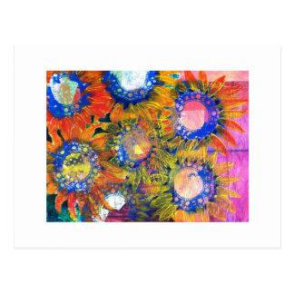 Pintura del girasol del collage de las técnicas postal