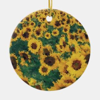 Pintura del girasol del vintage - ornamentos adorno redondo de cerámica