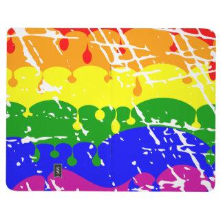 Pintura del goteo del arco iris apenada cuaderno grapado