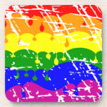 Pintura del goteo del arco iris apenada posavaso