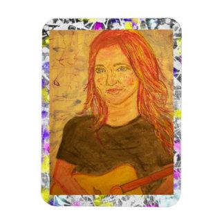 pintura del goteo del chica de la guitarra imanes rectangulares